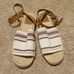 Tory Burch Shoes - Tory burch awning stripe plum ivory espadrille 8.5